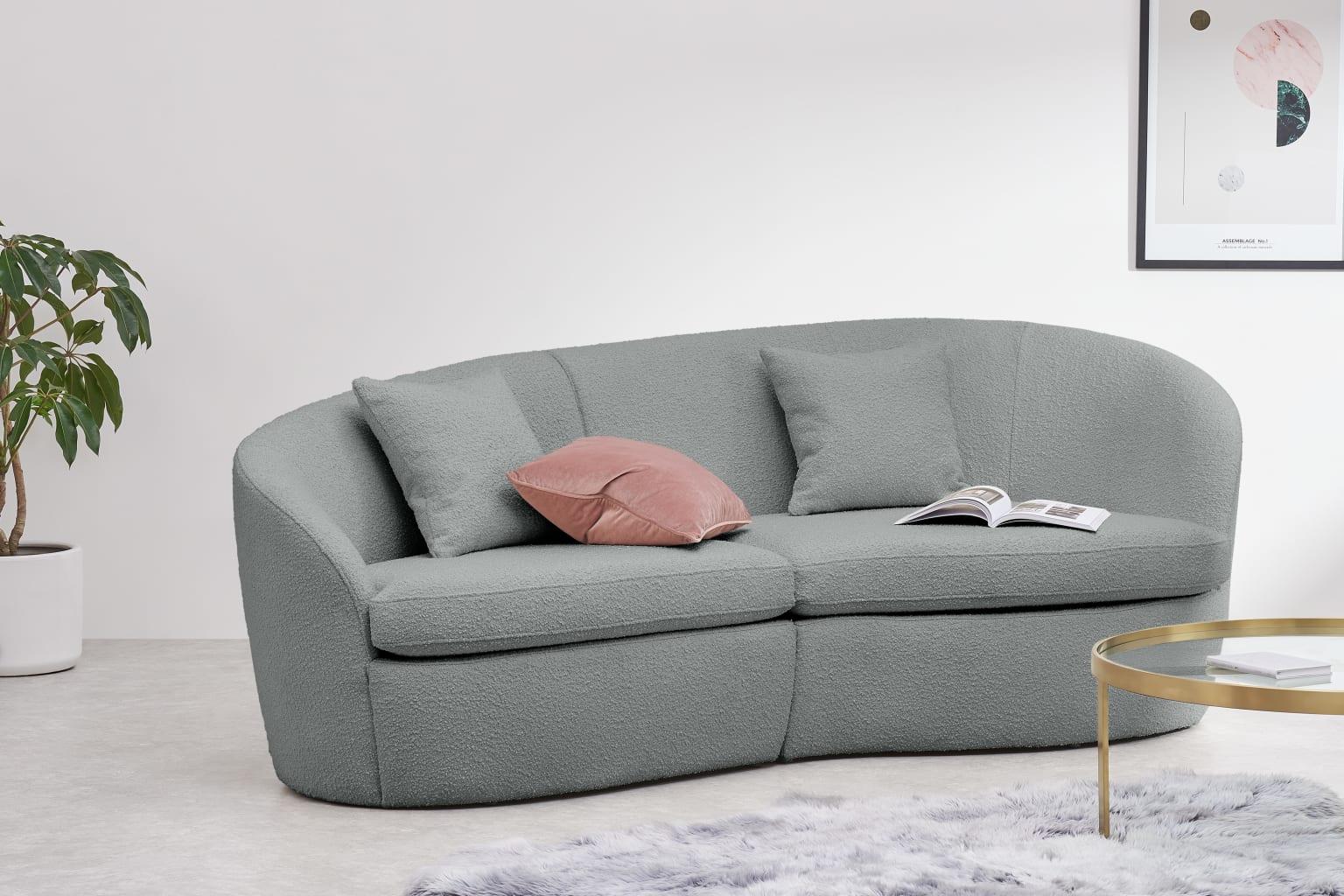 Reisa 3 Seater Sofa Steel Boucle ar3 2 LB02 LS - Canapés design : des modèles tendances pour un salon élégant en 2021