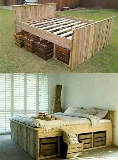 lit palette 602f8b6ec771d - Idées inspiration de chambre à coucher en palette de bois à essayer!