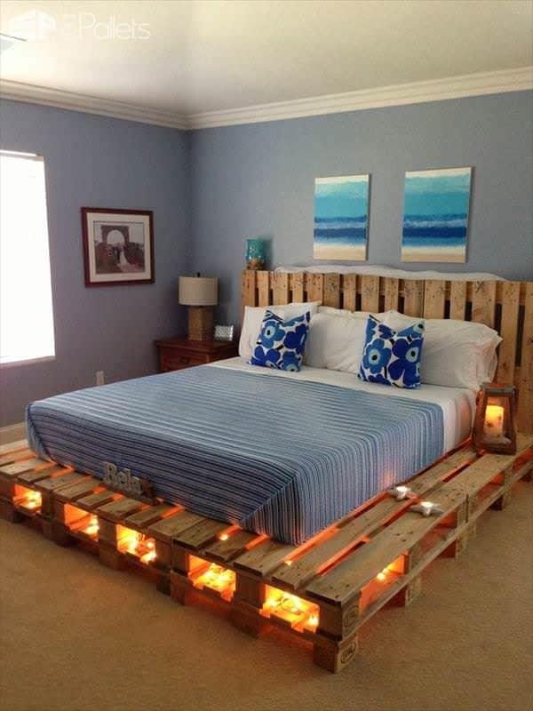 lit palette effet lumiere - Tête de lit palette & cadre en bois, matériaux recyclés pour son Bien-Être