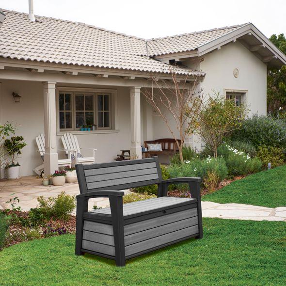 42795 coffre banc de jardin en resine brossium 227l gris 4 - Le coffre de jardin pour organiser efficacement votre coin outdoor