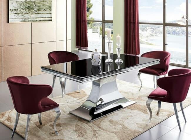 table a manger design acier chrome et noir trempe dazer les tendances 650x479 - 4 conseils simples pour choisir une table à manger tendance